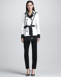 Short Tech Trench Coat & Twill Pants by Escada ...so in love with this set.