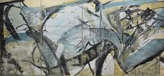 Peter LANYON, Untitled (sketch for Liverpool University Mural: 'The Conflict of Man with Tides and Sands') 1960 gouache on paper, 93 x 198 1/4 in/, 236 x 503.5 cm