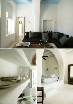"""""""Traditional home, Island of Tinos, Greece, by Zege Architects.""""  Perfectly integrated to its natural surroundings and with respect to the traditions of the island, Zege Architects created a simple, fresh, inviting home, which emphasizes on exposed stone formations, curvilinear forms and charming interior details and accessories."""