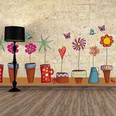 Wall Stickers Colorful Flowers
