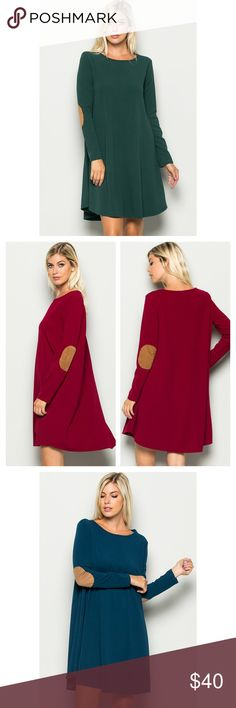 Arrives Soon- Plus Size Dress With Elbow Patch Fabulous solid long sleeves dress with vegan suede elbow patches. 96% Rayon, 4% Spandex. Very flattering on all body types. Brand new. Price is firm unless bundled. тнαик уσυ 💕 Dresses