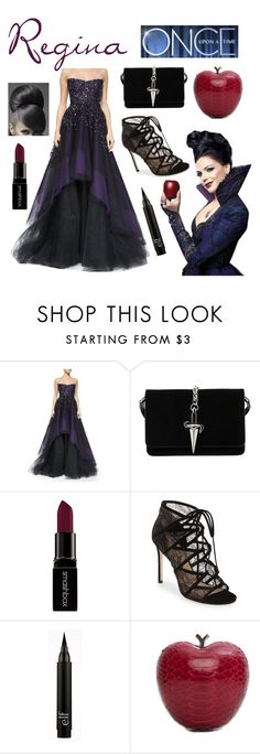 """""""""""Regina"""" from OUAT"""" by scamper623 ❤ liked on Polyvore featuring Once Upon a Time, Monique Lhuillier, Cesare Paciotti, Smashbox, Pour La Victoire and Elisabeth Weinstock"""