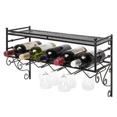 Wall Mounting Classical French Style Wine Bottle and Wine Glass Storage Organizer Rack with Top Shelf by MyGift *** New and awesome product awaits you, Read it now  : Storage and Organization