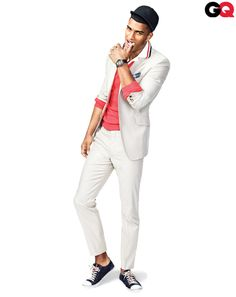 American Preppy Style by International Designers:  The high (suit) and low (sneakers) in equal measure. Molto patriotic.  Suit, $1,714 by Etro. Sweater, $620 by Salvatore Ferragamo. Polo shirt, $128 by Lacoste Jeffrey. Sneakers, $390 by Prada.