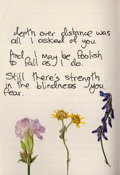 oh if you're comin too. (Ben Howard - Depth Over Distance)