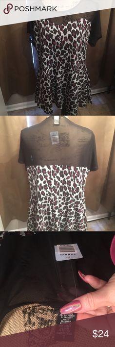 💕HOST PICK💕 Torrid  peplum top Beautiful Torrid peplum  shirt with sheer top. Size 3 NWT torrid Tops