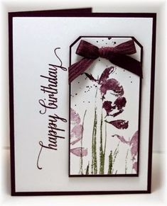 Scrappin' and Stampin' in GJ The card - flower image is from Penny Black, sentiment is from Hero Arts. Colors are white, blackberry and mossy meadow. Homemade Greeting Cards, Hand Made Greeting Cards, Making Greeting Cards, Birthday Greeting Cards, Happy Birthday Cards, Greeting Cards Handmade, Homemade Cards, Birthday Wishes, Penny Black Cards