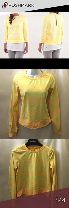 LULULEMON Yellow Striped Long Sleeve Warm-up Crew Pre-owned, excellent condition! Slightly hi-lo, split side seam hem. Back zipper with pull tag. Women's size 4. No flash used in photos. Canada. lululemon athletica Tops Tees - Long Sleeve
