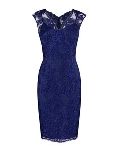 Sapphire Embroidered Corded Lace V-Neck Dress Image 0