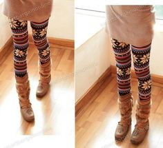 Warm Womens Winter Christmas Snowflake Knitted Leggings Cotton Stockings Pants