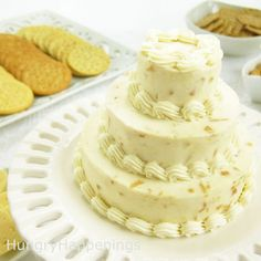 Roasted Garlic Cheese Ball is transformed into a wedding cake for a wedding shower!  :)  hungryhappenings.com