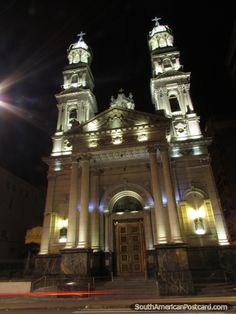 Cathedral at night, Rosario, Argentina.