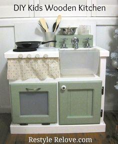 DIY VINTAGE TOY BOX   Restyle Relove: DIY Kids Wooden Kitchen
