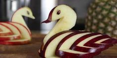 Make a swan from an apple
