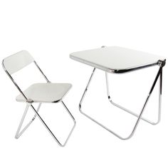 """Castelli """"Plia"""" Folding Desk and Chair Folding Walls, Folding Desk, Eames, Portable Tiny Houses, Stainless Steel Furniture, Blue Dining Room Chairs, Mid Century Desk, Portable Table, Wall Desk"""