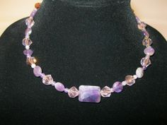 Amethyst gem stone and crystal necklace, and matching earrings