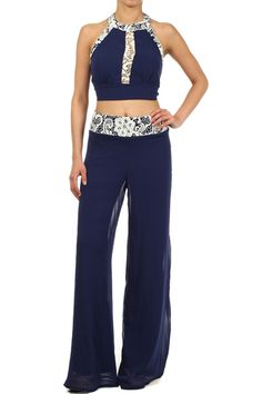 Two Piece Set With A Cropped, Sleeveless Top And Matching High Waist Palazzo Pants