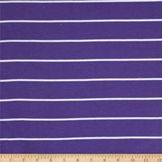 Yarn Dyed Rib Knit Stripe White/Purple from @fabricdotcom  This cotton blend rib knit fabric is perfect for tops, loungewear and ribbing for collars and cuffs. It has a soft hand and 40% stretch across the grain.
