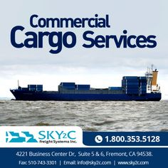 The domestic and international shipping freight company of offers trustworthy,commercial freight shipping on our affordable and dependable commercial cargo services in Fremont California. Fremont California, Cargo Services, Business Centre, Commercial, Ships, Boats