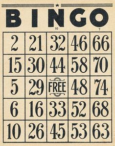 Bingo cards and a vintage ticket all for free download.