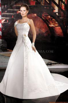 Bodenlange Elegante Brautkleider 2014 aus Satin mit Stickerei