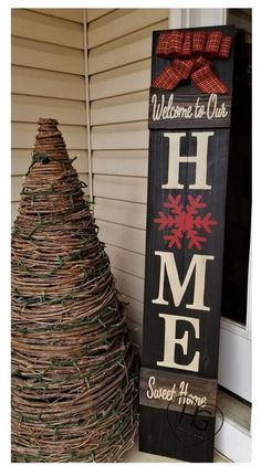 Winter Porch Sign Snowflake Welcome Winter Bow Log Cabin Rustic ~ Large Wood Sign Hand Painted Christmas Wooden Signs, Christmas Wood Crafts, Christmas Porch, Outdoor Christmas, Rustic Christmas, Christmas Projects, Holiday Crafts, Christmas Decorations, Winter Wood Crafts