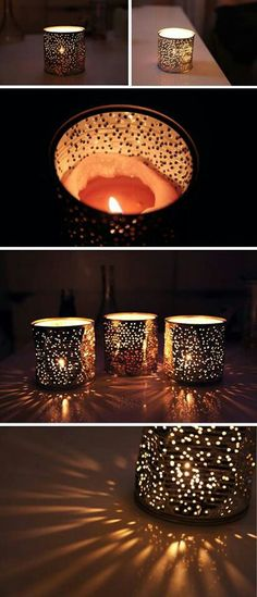Deko-Kerzenhalter selber machen, Kerzenglas aus Konservdosen, Blechtdosen wiederverwenden You are in the right place about candle holders repurposed Here we offer you the most beautiful pictures about Home Crafts, Diy Home Decor, Diy And Crafts, Tin Can Lanterns, Tin Can Lights, Tin Can Crafts, Candle Holder Decor, Votive Holder, Creation Deco