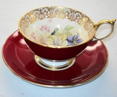 AYNSLEY ENGLAND SIGNED RED BOUQUET TEA CUP AND SAUCER  249.00