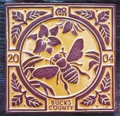 Honey Bee Cottage - Special edition bee tile, Moravian Pottery and Tile Works, Doylestown, PA Mercer Museum, I Love Bees, Art Nouveau Tiles, Bee Art, Save The Bees, Bee Happy, Bees Knees, Arts And Crafts Movement, Queen Bees