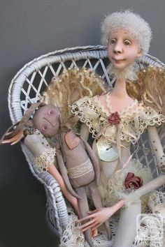 old woman and primitive toy art doll
