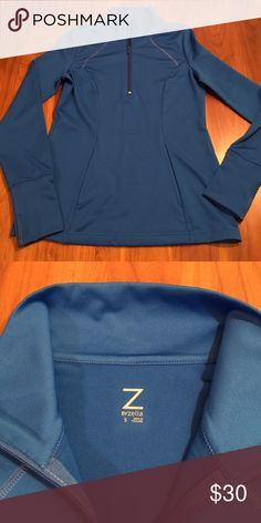"""Zella Pullover Vibrant cobalt blue pullover. 1/4 zip front with pouch pocket. Thumbholes at wrist. 17"""" across bust. 25"""" length. Zella Other"""