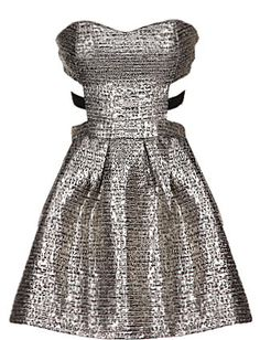 Melted Metal Dress: Features a cleverly cut strapless sweetheart bodice, sexy side cutouts and triple strap backside, shimmering silver textured foundation, and a twirl-worthy A-line skirt to finish.