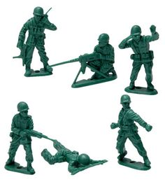 green army men.....these were one of my brother's favorite toys as a child in the 50's. He would set them up and then throw marbles at them as bombs.