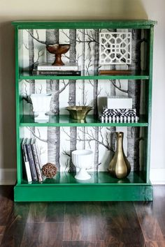 Green painted bookshelf - Green is a hot home decor trend right now, so check out these gorgeous furniture flips. Furniture makeovers with all shades of green paint | Green painted furniture.