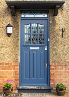 This door uses a vertical panel, a common trend of the and making it look wide and grand - Cotswood Doors Front Door Porch, Wooden Front Doors, House Front Door, Glass Front Door, House Entrance, Entrance Doors, Glass Door, Glass Art, Front Windows