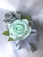 BUTTONHOLE, MINT GREEN & GREY ROSES WITH DIAMANTES, ARTIFICIAL WEDDING FLOWERS