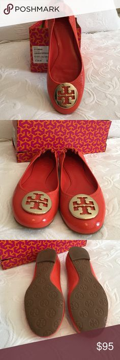 Tory Burch Shoes Habanero Pepper/Gold (Tangerine color) in size 8 -excellent condition. If you wear a 7.5, this will fit comfortably. Tory Burch Shoes Flats & Loafers
