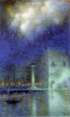 """Lucien Lévy-Dhurmer (French 1865-1953), """"Fireworks in Venice"""", c. 1910. Oil on canvas. (Enlarge)"""