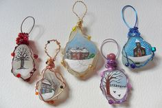 Hand painted traditional English sea glass christmas tree decorations
