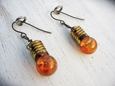 Upcycled Vintage Light Bulb Earrings, Amber Mini Christmas Light Earrings, Hypoallergenic Niobium Upcycled Earrings, Upcycled Jewelry
