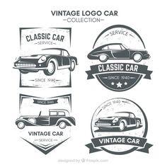 logos fantásticos com carros antigos Vetor grátis