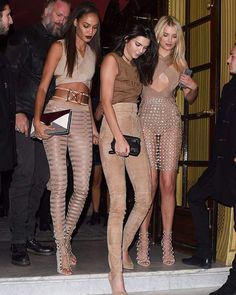 ABOUT LAST NIGHT #JoanSmalls #KendallJenner and #LilyDonaldson all dressed in Balmain SS16 looks on their way to the #BALMAINSS16 aftershow party #BALMAINARMY
