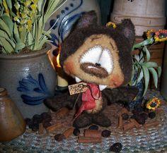 "Primitive Halloween Vampire Dracula Bat 7"" Doll Vtg Patti's Ratties Bear Artist"