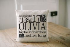 Birth Stats Pillow Personalized 16 x 16 Cover, home decor, present, new baby gift, nursery pillow, newborn, photo prop, throw, cushion cover