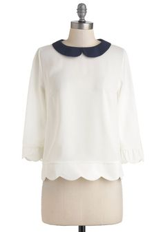 Dream Home Top in White - Cream, Blue, Peter Pan Collar, Scallops, Mid-length, Work, Variation