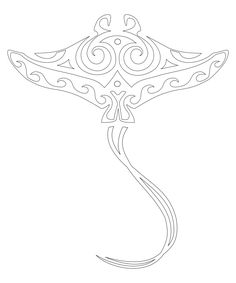 Maori whai / ray / stingray tattoo design featuring