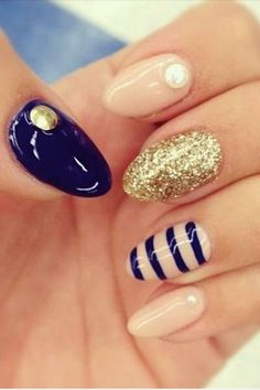 Image via Red nails gold accents Image via Pretty Short Nail Designs For Spring and it's Nerium colors Image via Simple Nail Art Designs for Short Nails Image via fun summ Nail Designs 2015, Gold Nail Designs, Nail Designs Pictures, Almond Nails Designs, Creative Nail Designs, Short Nail Designs, Simple Nail Designs, Creative Nails, Acrylic Nail Designs