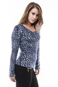 Animal Pattern Long Sleeve Fur Top