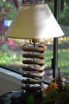 Rat Rod, Industrial Lamp Upcycled from Hardened Metal Coiled Spring