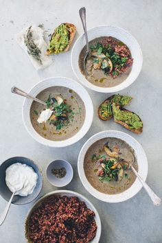 Mushroom Soup and Avo Toast